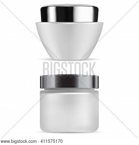 Cream Jar. Cosmetic Creme Bottle Matt Glass Container. Round Cosmetic Jar Mockup Blank. Scrub Butter