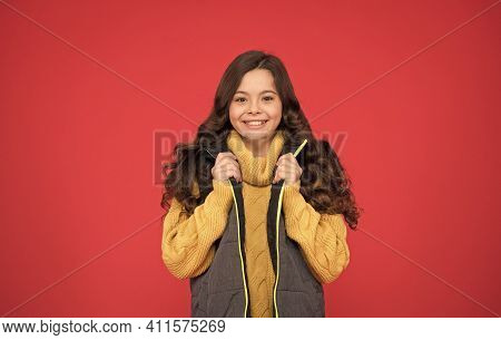 Welcome Cold In Style. Happy Child In Casual Style. Little Girl With Cute Look. Style And Fashion. F
