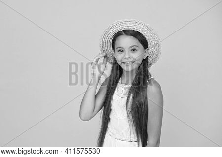 Ready For Beach Party. Holiday Mood. Small Girl On Vacation. Rancho Child In Straw Hat. Little Cutie