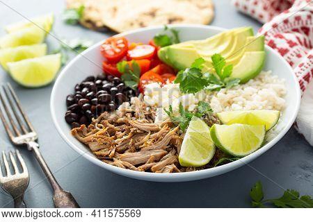 Pork Carnitas Bowl Or Burrito Bowl With Rice, Tomatoes And Avocado