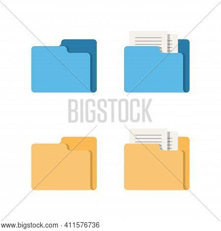 Icon With A Folder For Secure Storage Of Documents And Files. Vector Illustration Isolated On White