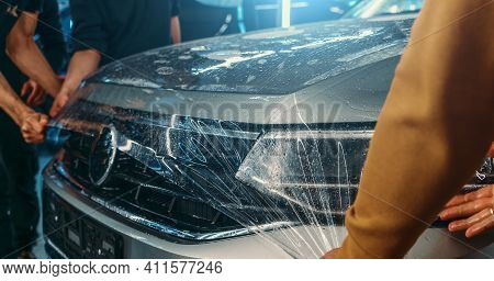 Paint Protection Film Or Ppf Polymer Protection Coating Layer, Installing And Wrapping On Car Hood I