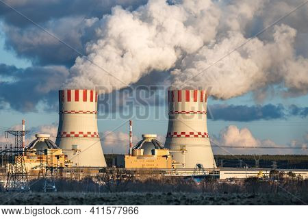 Nuclear Power Plant, Cooling Tower Of Atomic Power Station. Industrial Zone With Emission Of Steam I