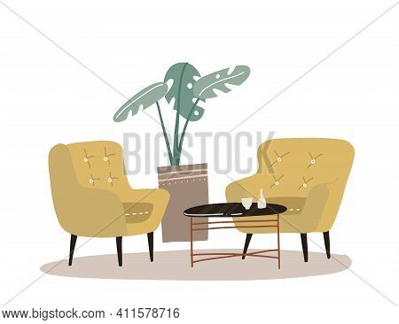 Cozy Home Interior With House Plant Palm, Coffee Table, Two Comfort Yellow Armchair. Comfortable Hom