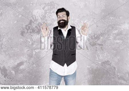 Im Always Smiling And Happy. Bearded Man With Smiling Face On Abstract Wall. Smiling Hipster With Mu
