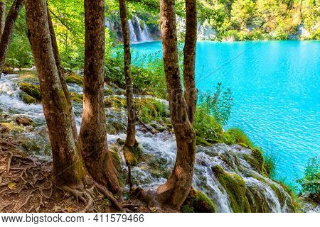 Incredibly beautiful fabulous magical landscape near the waterfall in Plitvice