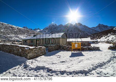 Morning In Machermo, Himalayas Mountains. Everest Base Camp Trek.