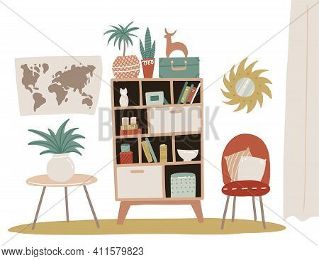 Home Interior Design, Furniture Living Room Or Hallway. Isolated Bookcase With Shelves And Decorativ