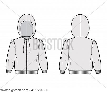 Zip-up Hoody Sweatshirt Technical Fashion Illustration With Elbow Sleeves, Relax Body, Knit Rib Cuff