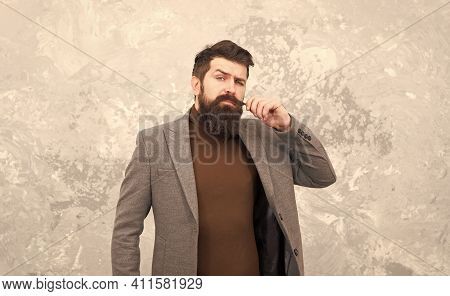 Casual Style. Bearded Hipster Autumn Style Clothes. Guy In Fall Coat. Sewing Studio Services. Clothi