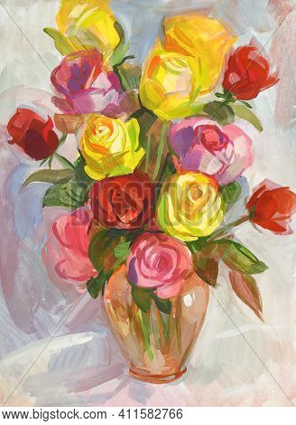 Roses In A Transparent Jug. Still Life With A Bouquet Of Flowers. Gouache Painting