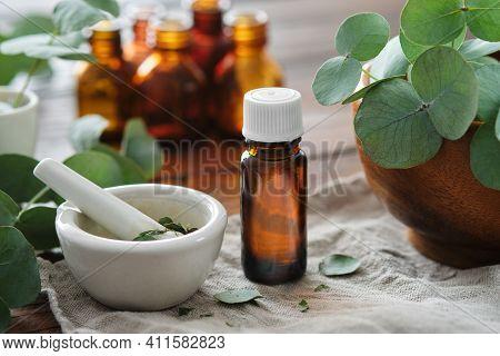 Bottle Of Eucalyptus Oil, Mortar And Wooden Bowl Of Green Eucalyptus Leaves. Tincture And Oil Bottle