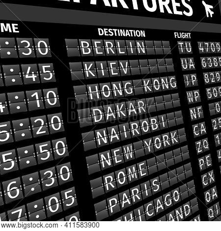 Airport Electronic Flip-flap Board Departure Arrival And Delay Flight Status Information Black Digit
