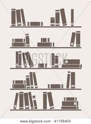 Books on the shelf simply retro vector illustration