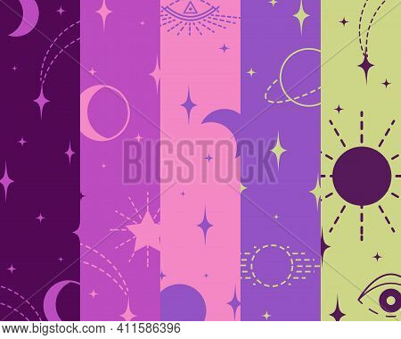 Pattern With Elements, Signs Of Esotericism, Connection Of Celestial Bodies, Stars With Fate Of Pers