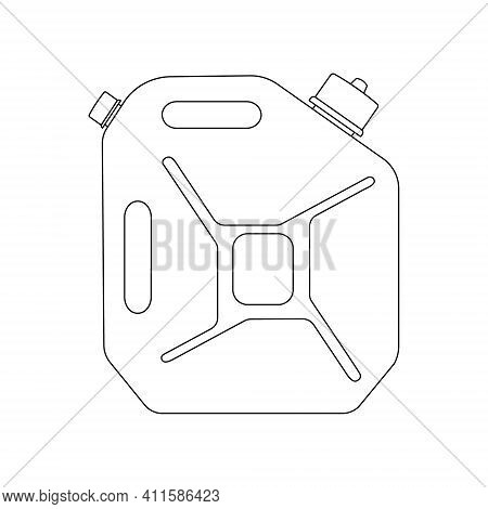 Gasoline Canister Linear Icon. Fuel Jerrycan Outline Sign. Petrol Container Symbol. Vector Illustrat