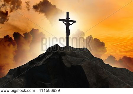 Religious concept with cross against sky