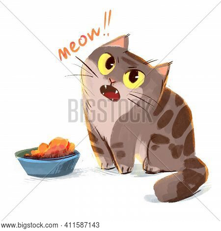 Cat Meows Sitting Beside A Bowl Of Food. Cat Asks Another Meal. Funny Cartoon Character. Isolated On