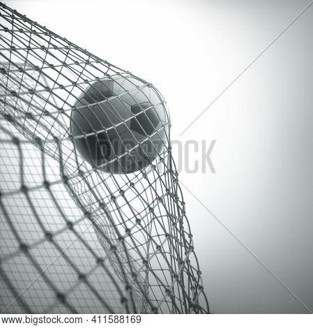Soccer Ball, Scoring The Goal And Moving The Net. 3d Illustration, On White Background.