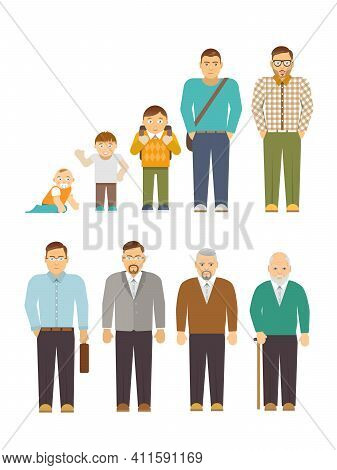 Men Generation Alternation Cycle Flat People Avatars Set Isolated Vector Illustration