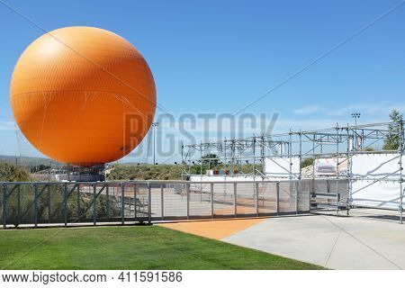 IRVINE, CA - FEBRUARY 15, 2015: Balloon Ride at the Orange County Great Park. The balloon ride is one of two current attractions at the Great Park, the other being the carousel.