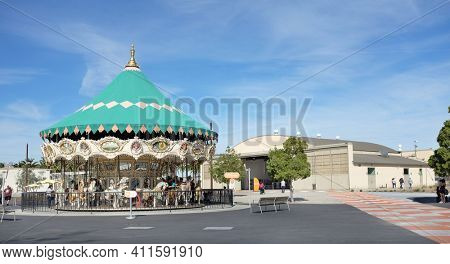 IRVINE, CA - JANUARY 14, 2018: Orange County Great Park Heritage and Aviation Hangar and Carousel. The public park is located in Irvine, with a focus on sports, agriculture, and the arts.