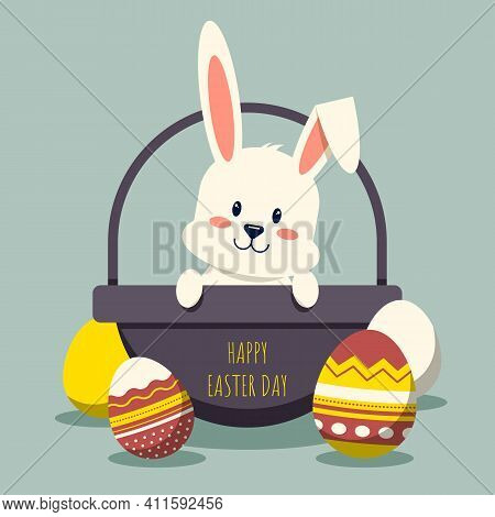 Happy Easter Day Decorative With Rabbit In Basket And Fancy Egg Flat Design, Vector Illustration