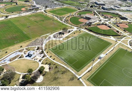 IRVINE, CALIFORNIA - 31 JAN 2020: Aerial View of Soccer Fields and the Softball Stadium ath the Orange County Great Park.