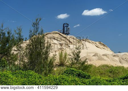 Sand Pump Tower Stockpiling Sand Pumped From A River