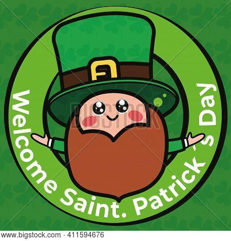 Welcome Saint Patricks Day Card With Irish Elf Cartoon - Vector