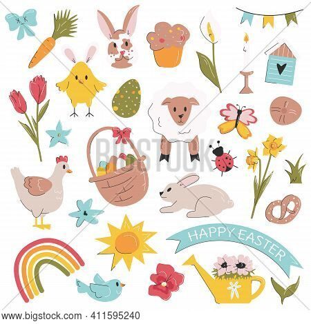 Cute Easter Design Elements Set Isolated On White. Bundle With Rabbit, Chick, Spring Flower, Egg, La