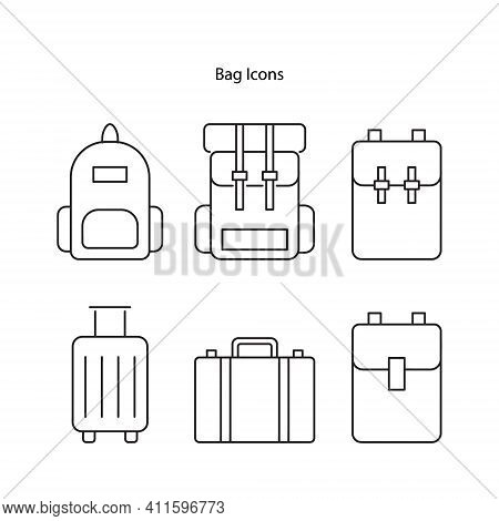 Bag Icon Set Isolated On White Background. Bag Icon Thin Line Outline Linear Bag Symbol For Logo, We