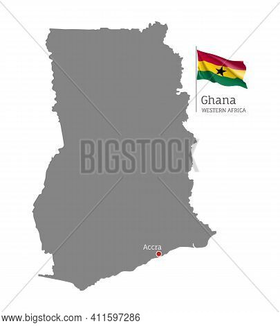 Silhouette Of Ghana Country Map. Gray Editable Map With Waving National Flag And Accra Capital, West