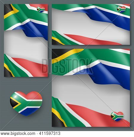 Independence Day Patriotic Backgrounds Set. South Africa Reconciliation, Freedom Day Celebration Ban