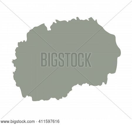 Silhouette Of Macedonia Country Map. Highly Detailed Editable Gray Map Of Macedonia, European Land T