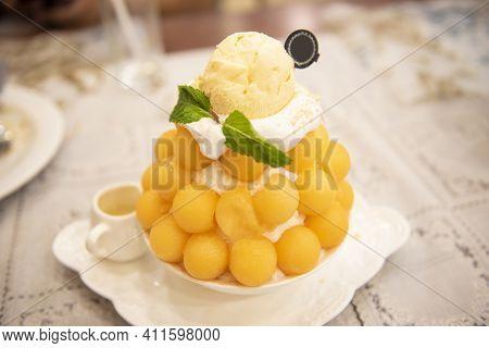 Bingsu Dessert, Fruit Bingsu Cantaloupe With Milk Cream Menu Eat Cooling Sweet Iced Served On The Ta