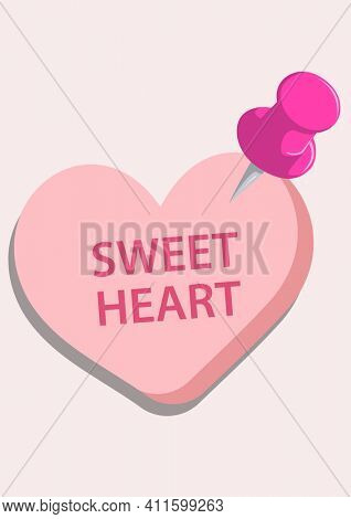 Illustration of pink heart with sweet heart text with pink pink on pink background. valentine's day love and romance concept digitally generated image.