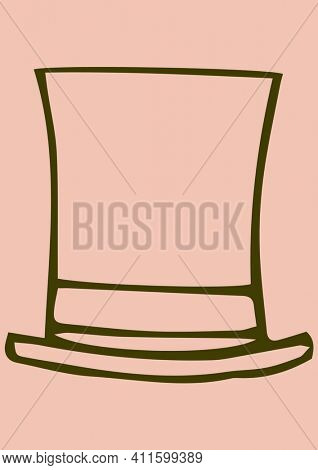 Outline of old fashioned hat with copy space on pink background. writing background concept digitally generated image.