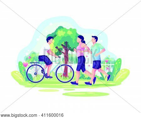 World Health Day Illustration Concept With Couple Jogging And A Person Cycling In The Park. Healthy
