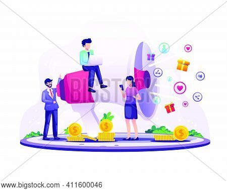 Marketing Strategy Concept, Businessman Shout On The Giant Megaphone For Promotion. Referral Marketi