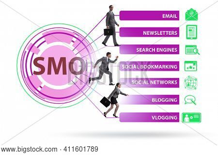 Social media optimisation concept with business people