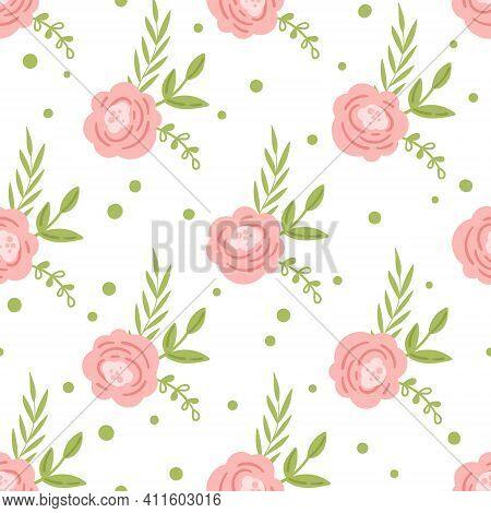 Easter Floral Boho Kids Seamless Pattern, Spring Pink Flowers Baby Digital Paper, Spring Endless Bac