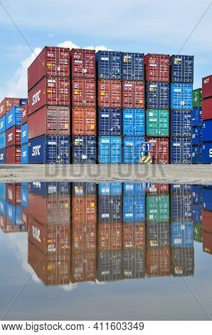 Jakarta, Indonesia - May 6, 2017: Stacks Of Containers At The Port Of Tanjung Priok, Jakarta, Indone