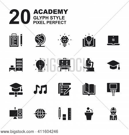 Icon Set Of Academy. Glyph Black Icons Vector. Contains Such Of Geography, Hat Graduation, Music, Ex