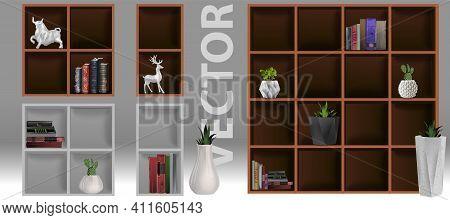 Bookshelf With Books And Figurines -bibliography, Encyclopedia And Handbooks. Retro Interior Furnitu