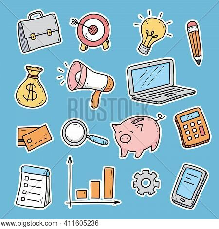Hand Drawn Sticker Of Business And Finance Elements, Coin, Calculator, Piggy, Money. Doodle Sketch S