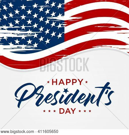 Happy Presidents Day In United States Text Concept With American Flag. Washington's Birthday. Federa