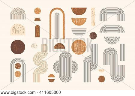 Set Of Abstract Geometric Shapes With Line And Strips. Vector Elements For Web Design, Banner, Poste