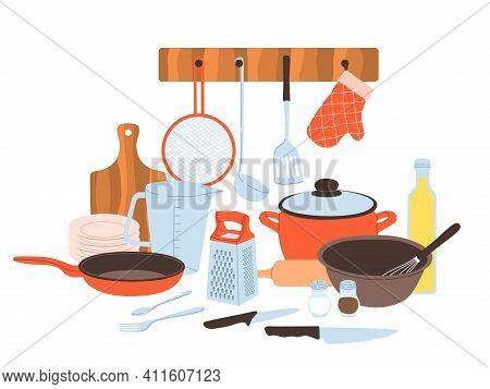 Kitchen Utensils. Baking And Cuisine Tools Composition, Doodle Drawn Style Cookware And Tableware, C