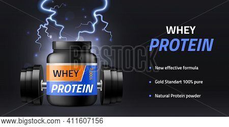 Sports Supplements. Whey Protein Powder Advertisement Banner Black Nutritional Container, Fitness Bo